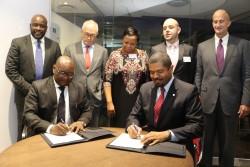 David Makhura Gauteng Premier and Thomas Konditi President  CEO of GE South Africa sign MoU of colla